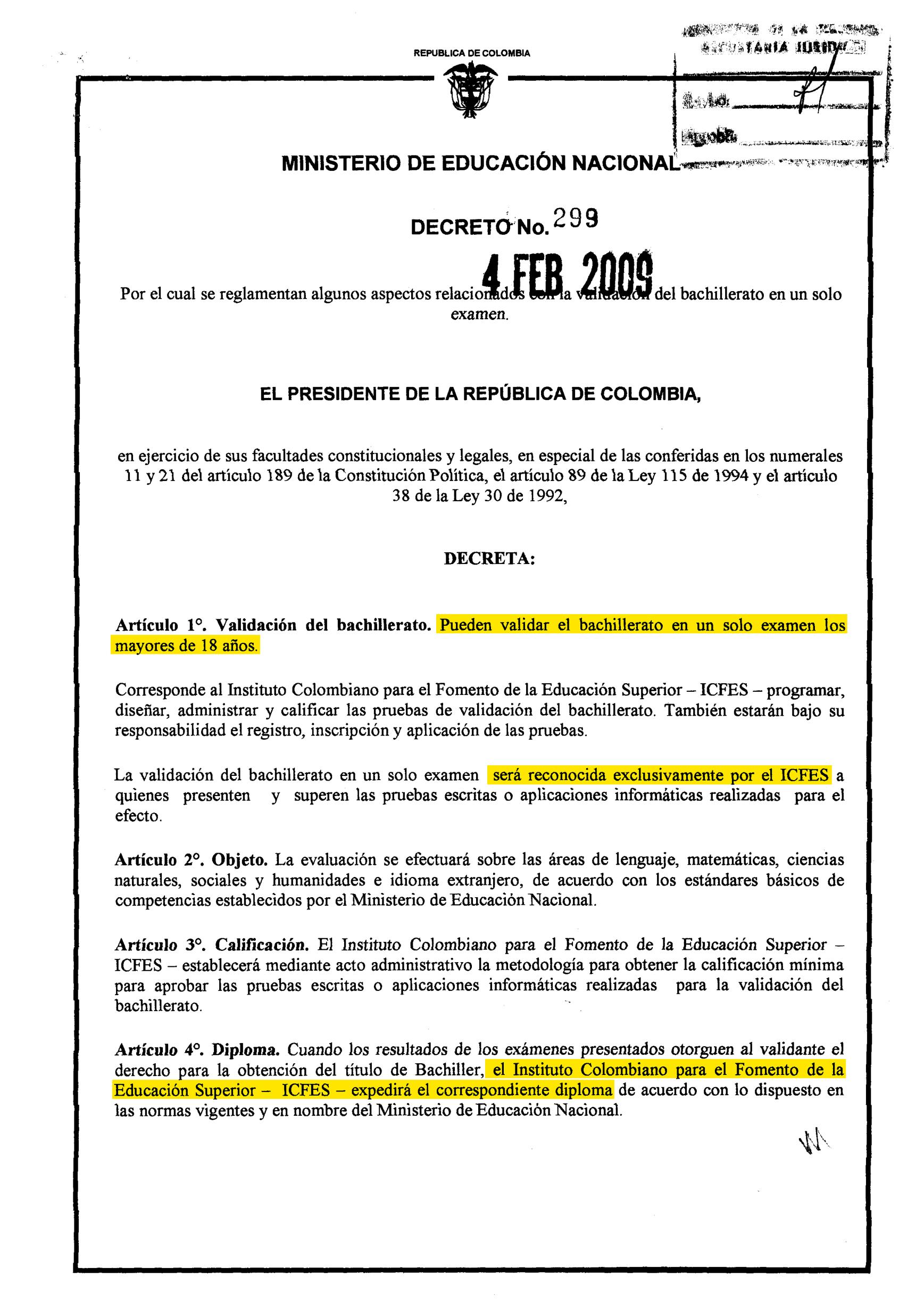 Decreto 299 de 2009 Página 1