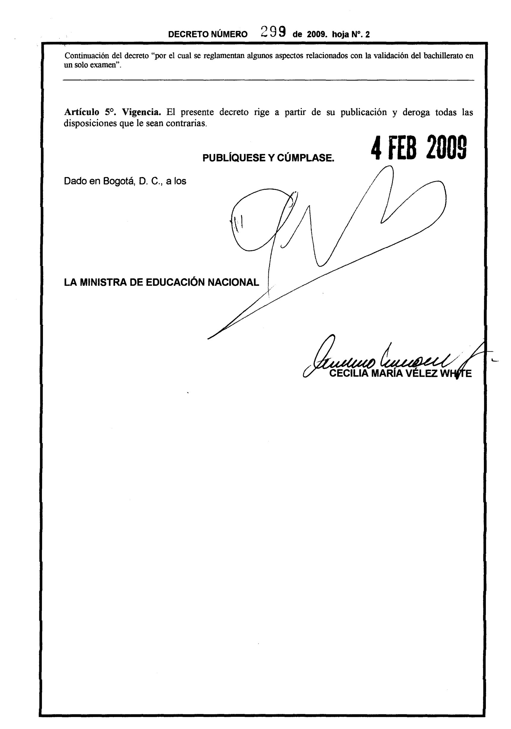 Decreto 299 de 2009 Página 2