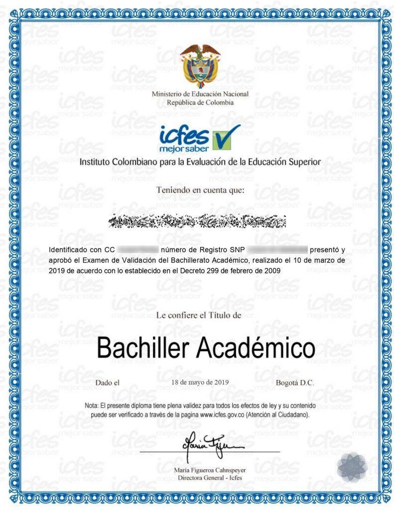 Ejemplo de diploma emitido por el ICFES. Es uno de los certificados que otorga el ICFES por validar el bachillerato en un solo examen.