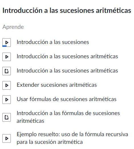 Lecciones sobre sucesiones aritméticas en Khan Academy
