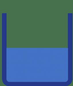 Vaso que representa el puntaje mínimo para pasar el examen de validación del bachillerato. (Academia de Bachillerato Virtual)