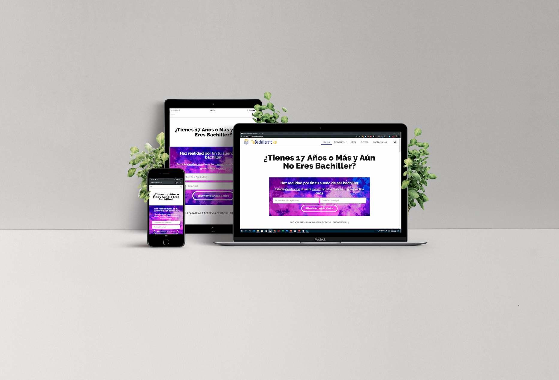Imagen horizontal de portátil, tablet y teléfono mostrando portada de la Academia de Bachillerato Virtual