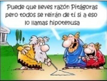 Caricatura de Pitágoras y la hipotenusa